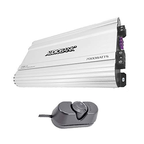 Audiobank Monoblock 7000 WATTS Amp Class D 1OHM Car Audio Stereo Amplifier Remote Turn On/Off Circuit/Heavy-Duty Aluminium Alloy Heatsink Power and Protection Indicator P7001