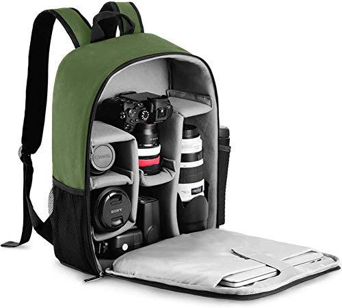 CADeN Camera Backpack Bag with Laptop Compartment 15.6' for DSLR/SLR Mirrorless Camera Waterproof, Camera Case Compatible for Sony Canon Nikon Camera and Lens Tripod Accessories Green