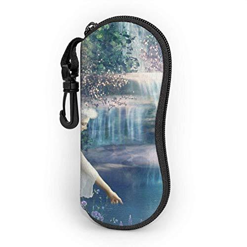 AEMAPE Estuche para gafas Lake Fairy para mujeres y hombres Estuche blando para gafas de sol portátiles con mosquetón