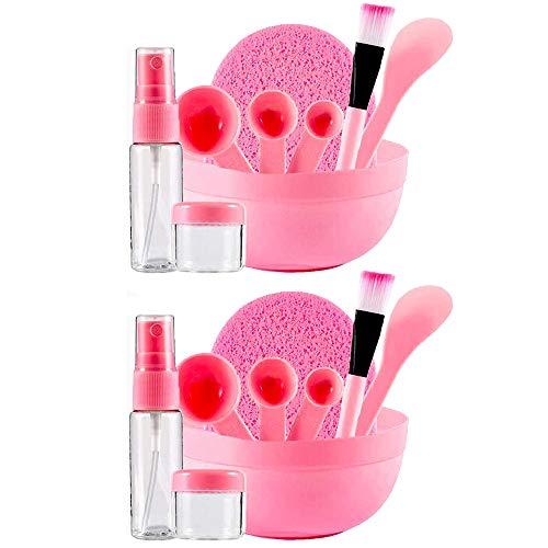 2 Set DIY Gesichtsmaske 9 in 1 Maske Schüssel Set, DIY Gesichtsmaske Kit, Gesichtspflege DIY Maske Werkzeug Set, Schüssel Spatel Pinsel Gauge Flasche Reinigungsmatte für Hautpflege Rosa