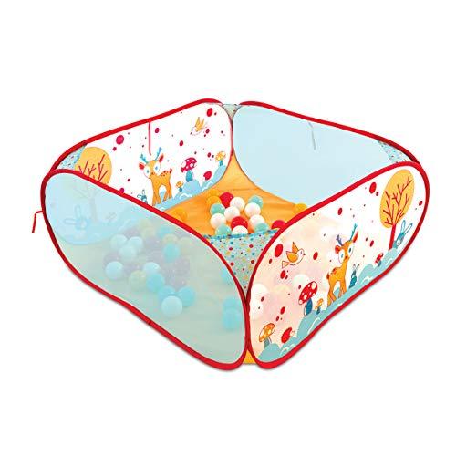 LUDI - Piscine à balles 'Lapin' en tissu et structure pop-up 90 x 90 x 44 cm. 45 balles pour jouer en sécurité ! Dès 6 mois. L'aire de jeu se plie et se range dans un sac très léger - 20005