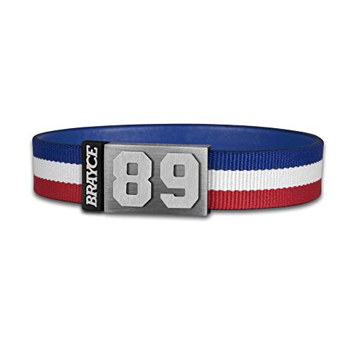 BRAYCE® Trikot am Handgelenk® mit Deiner Trikot Nummer 00-99 I Armband blau, weiß & rot I Sportarmband/Teamarmband personalisierbar & handgemacht