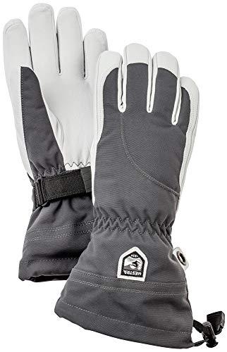 Hestra Heli Damen Ski-Handschuhe, extra warm, Leder, für den Winter, kaltes Wetter, Grau/gebrochenes Weiß, Größe 8