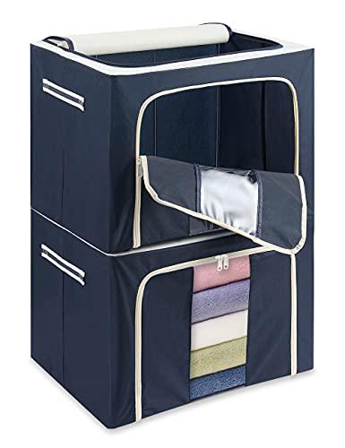 Große Faltbar Kleideraufbewahrung, 72L Faltbar Kleideraufbewahrung mit Verstärktem Griff & Stahlrahmen, faltbare aufbewahrungstasche für kleidung, Spielzeuge, Steppdecke, Kissen, 2 Stück