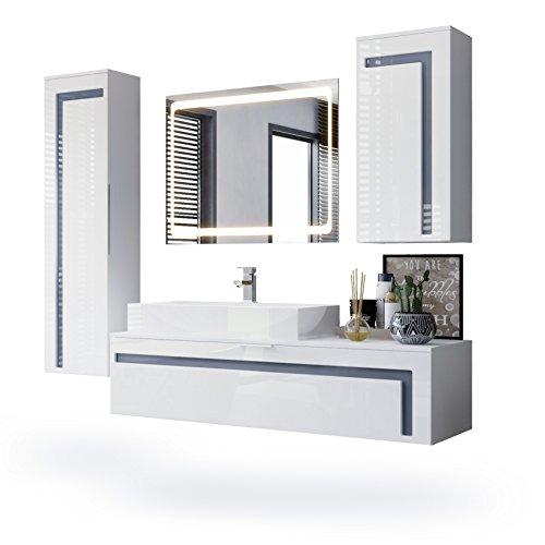 Vladon Badmöbel Komplettset Aloha, Korpus in Weiß matt/Fronten in Weiß Hochglanz mit Absetzungen in Grau Hochglanz, mit Aufsatzwaschbecken und LED Spiegel