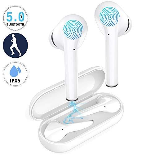 Auriculares Bluetooth inalámbricos TWS, tecnología de Llamada de Doble Canal auditivo, con micrófono y Caja de Carga, para iPhone Samsung Android y Otros teléfonos Inteligentes (Blanco)