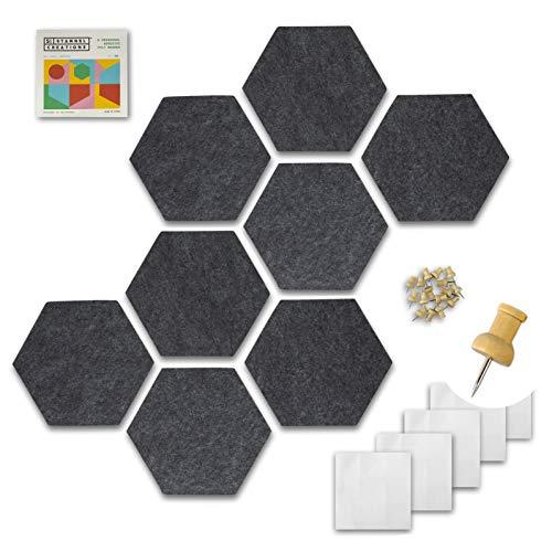 "Stannel Felt Hexagon Cork Board & Premium Push Pins, for Desk Decor, Enamel Pins, Bedroom Decor, Office Decor, Kitchen Decor | Bulletin Board | Vision Board | Pin Board Tiles (6""x7"", Gray, 8-Pack)"