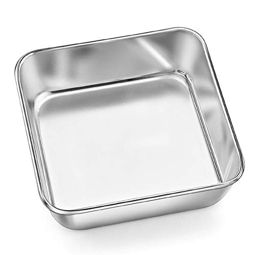Square Baking Cake Pan (6 Inch), P&P CHEF Small Stainless Steel Brownie Bakeware Pan For Bread Sponge Cake, One-piece Molding & Leakproof, Non-toxic & Healthy, Easy Release & Dishwasher Safe