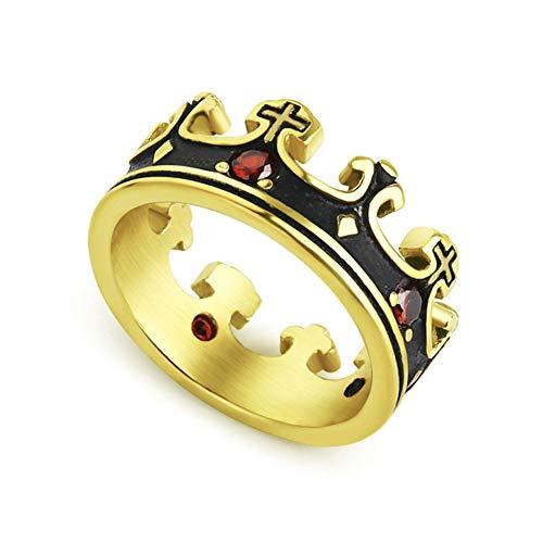 Valily Mens Crown Ring Black Royal King Crown Knight Cross Rings Roestvrij staal Rode Zirkoon Trouwring voor Dames Heren Groothandel