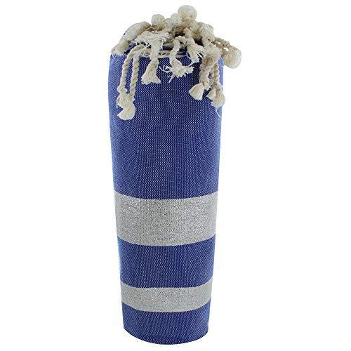 LES POULETTES Fouta Badetuch Blau Baumwolle und Lurex Streifen