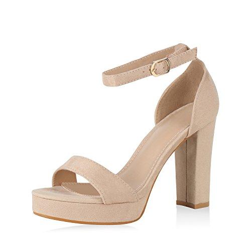 SCARPE VITA Damen Plateau Sandaletten Sommer High Heels Riemchen Party Schuhe 163103 Creme Gold 40
