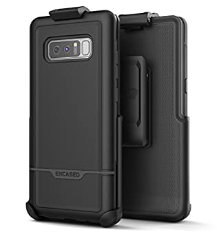Encased Galaxy Note 8 Rugged Belt Case Heavy Duty Rebel Armor  Full Body  Cover with Holster Clip for Samsung Note 8 - Military Grade Protection  Black