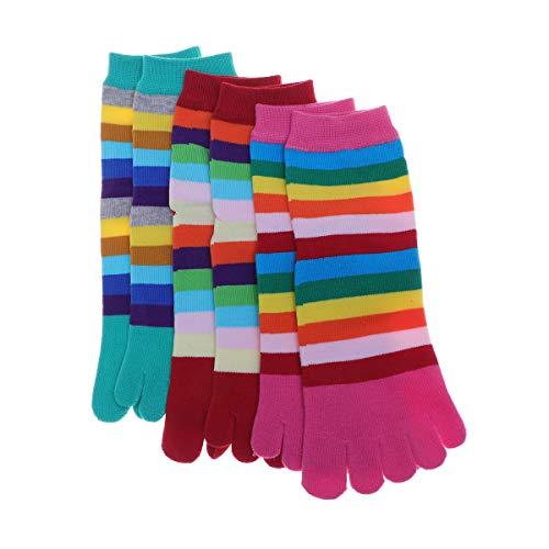 3 pares de meias de cinco dedos Lioobo de algodão com tira colorida e cinco dedos, absorção de suor, respirável para mulheres e meninas