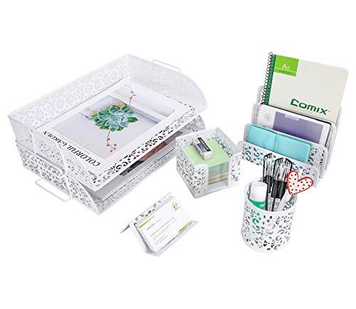EasyPAG 5 in 1 Desk Organizer Set - 2 Tier Stackable Desk Tray,Letter Sorter, Pen Holder,Business Card Holder and Stick Note Holder,White