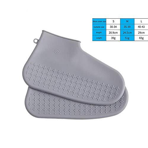 DDIAN Überschuhe Unisex wasserdichte Silikon Regenschutz Regenschuh Schuhschutz,Grau,M