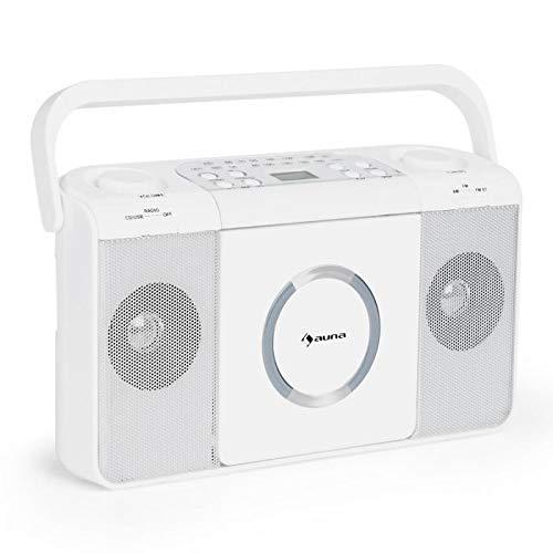 AUNA Boomtown - Radio CD , Equipo estéreo , Boombox , Radiograbadora , MP3 , CD , USB Radio FM , con Pilas o con Cable , Blanco