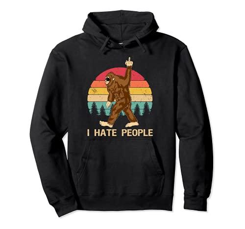Funny Bigfoot, Odio a la gente, Dedo medio, Vintage, Retro Sudadera con Capucha