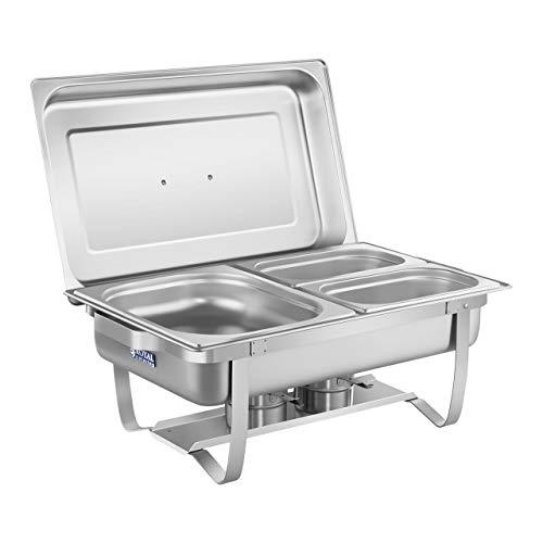 Royal Catering Chafing Dish Warmhaltebehälter Speisewärmer RCCD-1.3GN-1 (2 Brenner, inkl. GN 1/2, 2 x 1/4 Behälter, Wasserbehälter 6,5 L, Speisebehälter 8 L, Edelstahl)