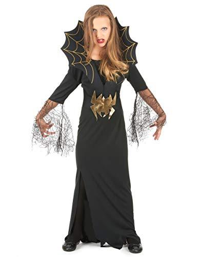 DEGUISE TOI Déguisement sorcière araignée dorée Fille Halloween - L 10-12 Ans (130-140 cm)