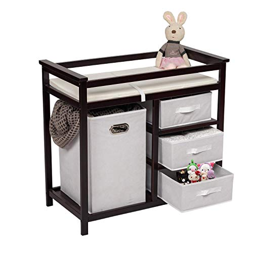 FIZZEEY Baby Diaper Changing Table - Baby Changing Table Station w/Drawers, Laundry Hamper Organizer, Changing Table Pad, Espresso