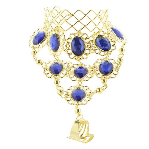 Hellery Pulsera para Danza del Vientre con Diamantes de Imitación de Cristal Y Cadenas de Oro - Azul