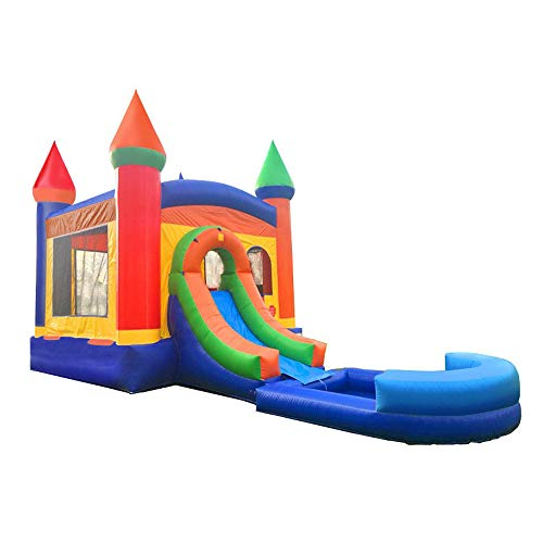 Inflatable Bounce House and Wet / Dry Slide - 12' Foot x 12' Foot Bouncy Area - Crossover Rainbow Castle Combo with Wet Pool Attachment - Includes: Blower, Anchor Stakes, and Storage Bag