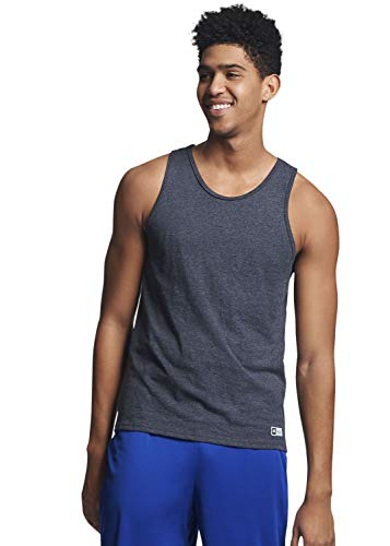 Russell Athletic Men's Cotton Performance Tank Top, Black Heather, M