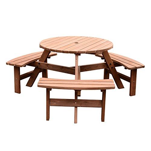 Outsunny Sitzgruppe, Garten Sitzgarnitur, Tischgruppe mit 3 Bänken, 6 Personen, Massivholz Natur Ø170 x 70 cm