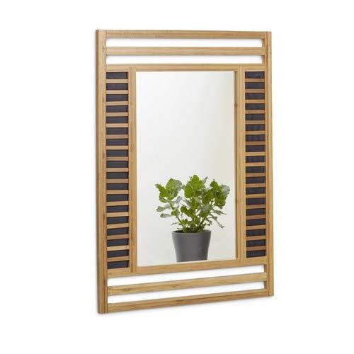 Relaxdays Bambus Spiegel, Badspiegel mit dekorativem Holzrahmen, Hochformat Wandspiegel HxBxT: 70 x 50 x 2 cm, natur