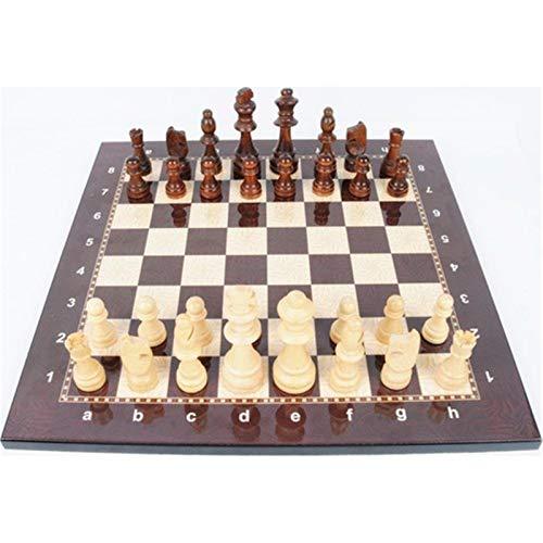 ZDAMN Schachset Schach Set Holzfigur mittelalterlich mit hochwertigem Schachbrett-Brettspiel Dame (Farbe : Natural, Size : One Size)