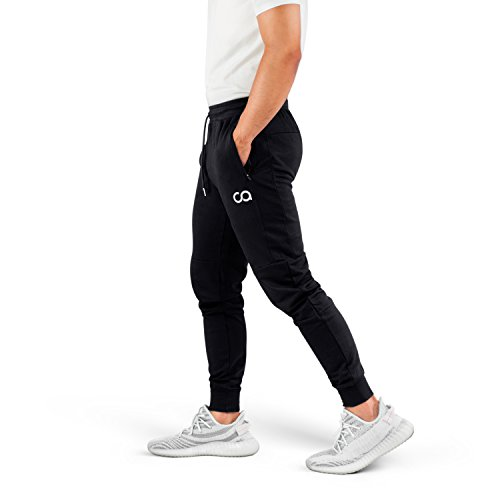 Contour Athletics Men's Joggers (Cruise) Sweatpants Men's Active Sports Running Workout Pants with Zipper Pockets (Black) (Small) (CA1003-SB)