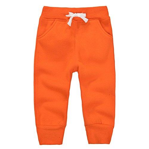 Casa Bambino Pantaloni Lunghi in Cotone Pantaloni Sportivi da Bambini con Cintura Elastica Pantaloni per Ragazzi Ragazze - Arancione