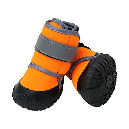 Zeraty Hundeschuhe Pfotenschutz, Anti-rutsch Sole passend für mittlere und große Hunde, Orange / 2 Stück