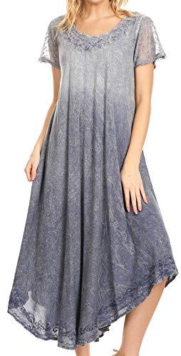 Sakkas 19245 - Jonna Kurzärmliges Batik-Kleid aus Batik-Oberteil mit Langen Ärmeln - Steel Blue - OS