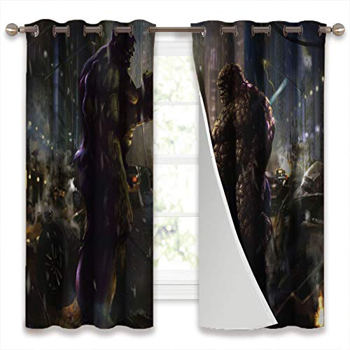 Blackout Curtains for Bedroom Hulk and the Thing Rock Paper Scissors Privacy Window Treatment Set W42 x L45 Inch