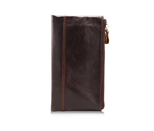 Carteras de cuero de los hombres moda doble cremallera embrague bolsa larga vertical teléfono móvil monedero