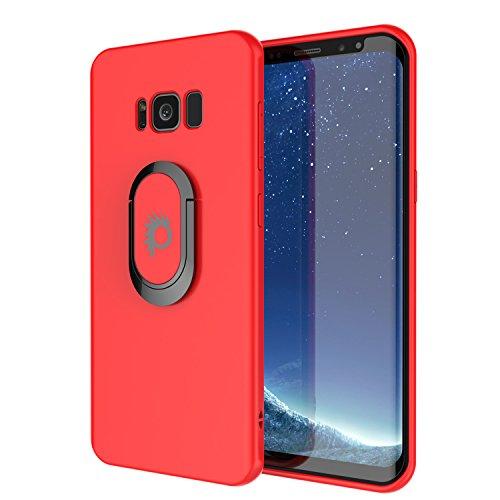 PunkCase S8 Galaxy Plus Magnetix Protector TPU con Soporte Anillo Agarre Metal Placa de Soporte para el Coche magnético teléfono Plus Montaje Pantalla Punkshield Protector para Samsung S8 Borde Rojo