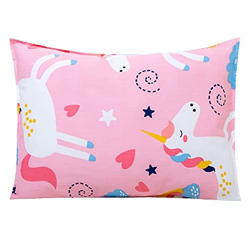 Toddler Pillow with Pillowcase Set 14x19, Pink Unicorn Organic Cotton Kids Pillows for Sleeping, Girls Breathable Pillow with Pillow Cover for Kids Sleeping, Machine Washable