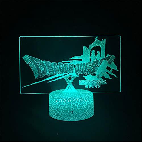 Doragon Kuesuto - Lámpara de ilusión 3D para niños, 16 colores cambiantes acrílico LED noche luz para niños niñas cumpleaños o vacaciones regalo