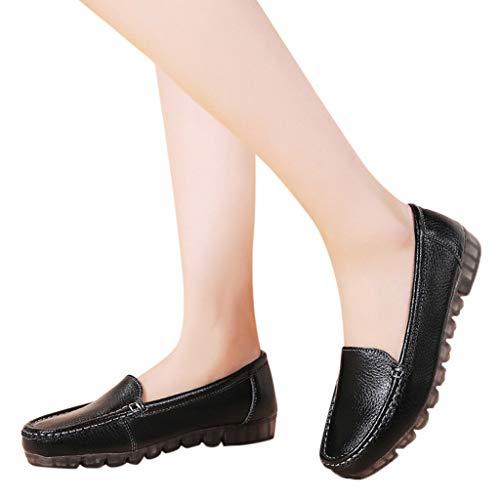 Mokassins Damen Leder Loafer Flache Fahren Halbschuhe Frauen Elegante Slipper Bequeme Leichte Bootsschuhe Atmungsaktiv Casual Schuhe Celucke (Schwarz, 39 EU)