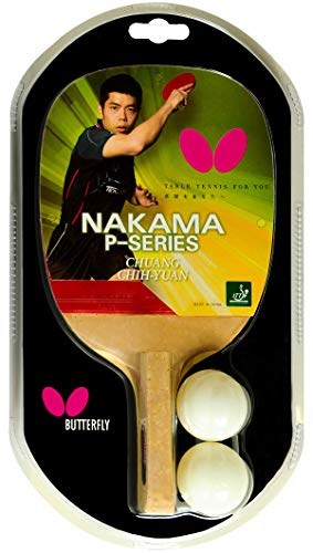Butterfly Nakama P1 Japanese Penhold Table Tennis Racket - Nakama Series - Our Most Popular Rubber of All Time and Carbon Fiber Power - Recommended for Advanced Level Players