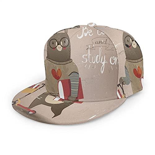 Sombrero de oso de dibujos animados, gorra de béisbol para mujeres, hombres, lindo oso en scooter cita Be Calm and Study On Hip Hop Snapback Trucker Hat Flat Brim Baseball Hat