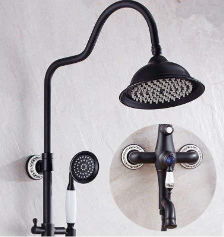zwart ontwerp douchegordijn muur opknoping compleet koper douche set