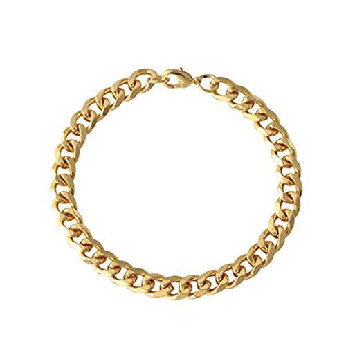 Bobury - Pulsera de cadena de acero inoxidable para mujer y niña, dorado, 11 mm
