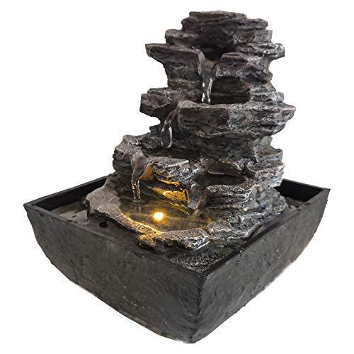 DRULINE LED Zimmerbrunnen Spain 13,5 x 18 x 13,5 cm Schwarz/Grau