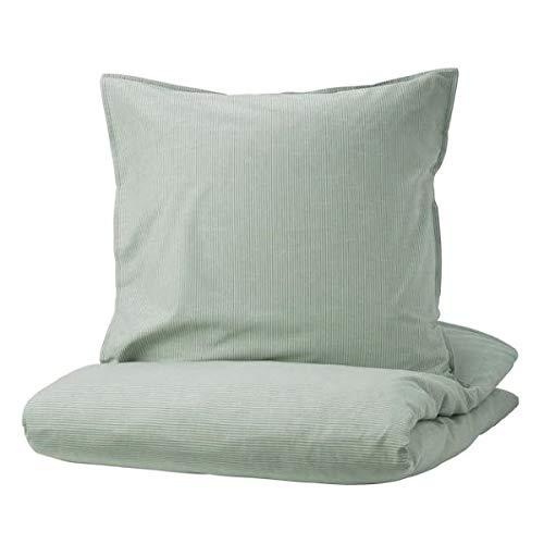 BERGPALM IKEA Bettwäscheset in grün; gestreift; 100% Baumwolle; 2tlg; (155x220/80x80cm)