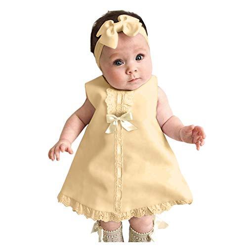 MOMBIY Kinderkleid Mode Baby Ärmelloses Bowknot Spitzenkleid + Stirnband Set Niedliche einfarbige Babykleidung