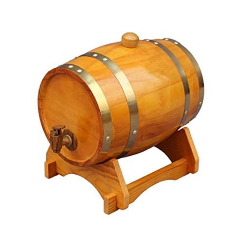 barril de vino de madera 3L Roble Barril De Madera Barril con grifo, Vino De Roble Barril De Vino  Barrica Wine Rack, Almacenamiento Cerveza Vino blanco Licor Cóctel Práctico ( Color : Yellow )
