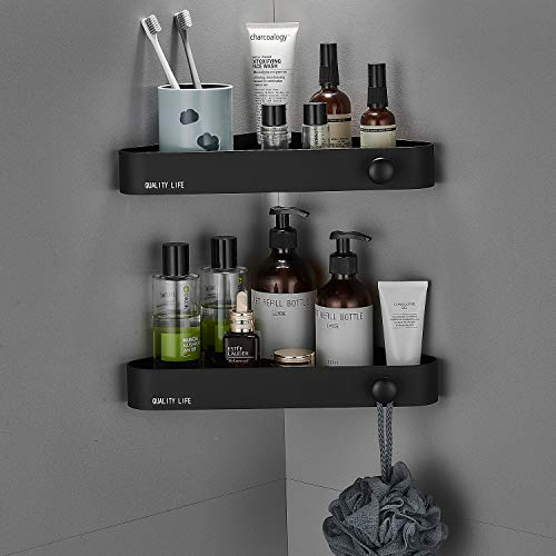 Wimzy Creations Corner Shower Shelf, 2 Pack Wall Mounted, Matte Black, Stainless Steel, 20lbs Max Bearing Weight, Easy Installation with Nano-tech Glue, No Drilling, No Damage to Walls for Bathroom