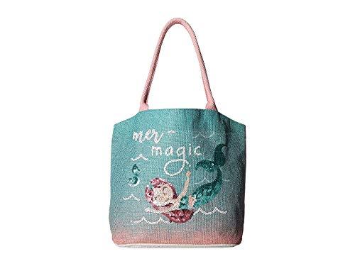 Mud Pie E9 Mermaid Kids Baby Girl Sequin Jute Tote 10300008 (Pink-Mer-magic)